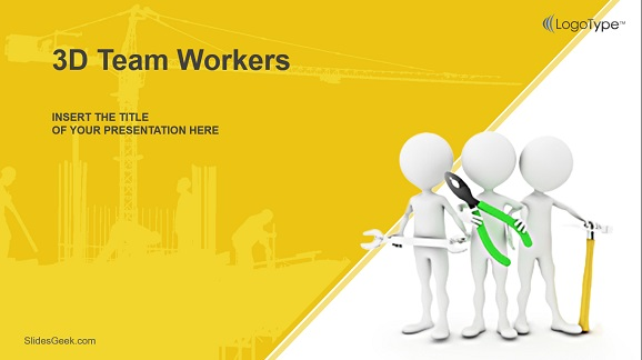 3D Team Workers Presentation Template Feature image
