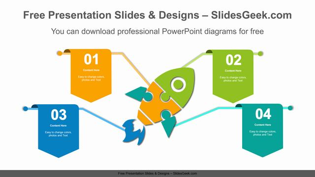 Flags-on-rocket-puzzles-PowerPoint-Diagram-Template feature image